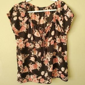 Forever 21 Black Pink Floral Boho Blouse Medium